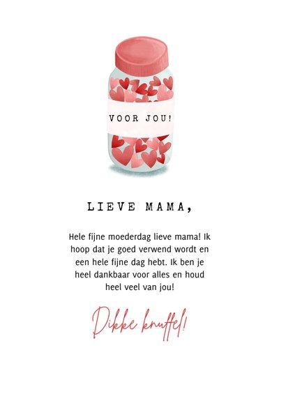 Moederdag kaart potje vol met hartjes, voor de liefste mama! 3