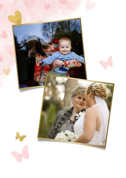 Moederdag tegoedbon kaart met foto, roze waterverf hartjes 2
