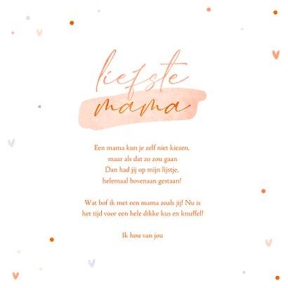 Moederdagkaart een dikke kus voor de liefste mama hartjes 3