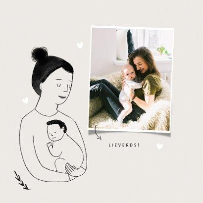 Moederdagkaart eerste moederdag met portretje en foto 2