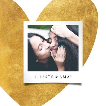 Moederdagkaart gouden hart met foto 2