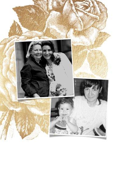 Moederdagkaart gouden roos met 2 foto's 2
