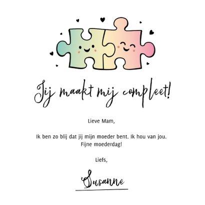 Moederdagkaart grappig met puzzelstukjes - is er maar een! 3