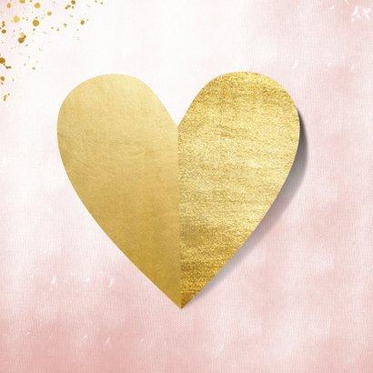Moederdagkaart hart van goud op roze waterverf 2