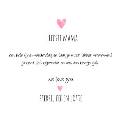 Moederdagkaart met de tekst We love Mom 3