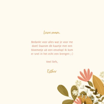Moederdagkaart met foto en een bloemetje uit een envelop 3