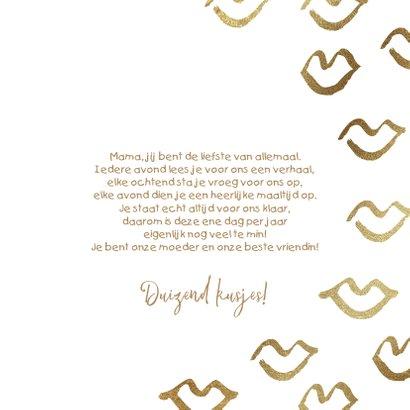 Moederdagkaart met grote foto en gouden kusjes 3