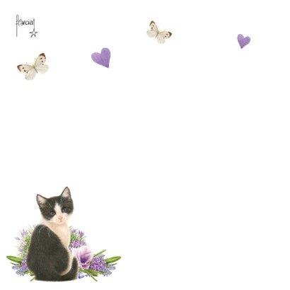 Moederdagkaart met lieve zwart-witte kitten met lila bloemen 2