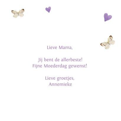 Moederdagkaart met lieve zwart-witte kitten met lila bloemen 3