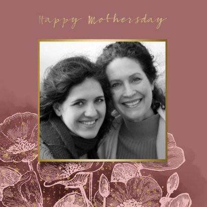 Moederdagkaart met roze bloemen, waterverf & gouden spetters 2