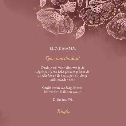 Moederdagkaart met roze bloemen, waterverf & gouden spetters 3