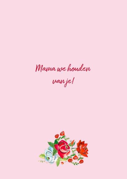 Moederdagkaart met foto en rode rozen 3