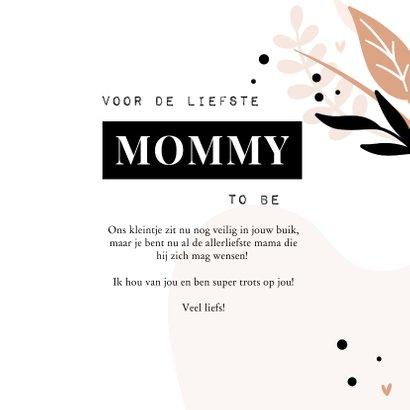 Moederdagkaart voor de liefste mommy to be met blaadjes 3