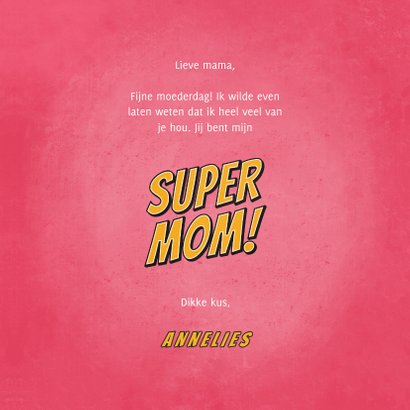 Moederdagkaart you're a SUPER MOM in comic stijl 3