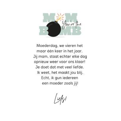 Mom you're the bomb moederdagkaart typografisch 3