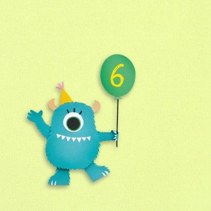 Monster met ballon verjaardagskaart 2