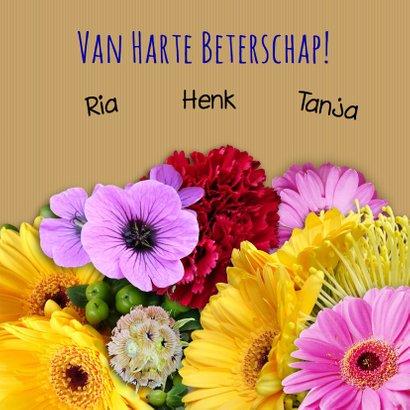 Mooie beterschapskaart met boeket kleurige bloemen 3