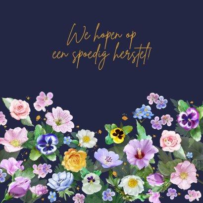 Mooie beterschapskaart met diverse bloemen zoals rozen 3