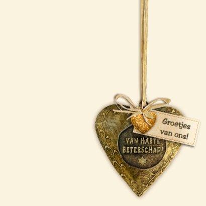 Mooie beterschapskaart met koperkleurig hart 3