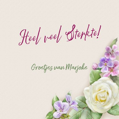 Mooie beterschapskaart met krans van witte rozen 3