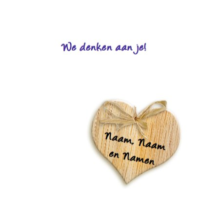 Mooie beterschapskaart met lila bloem op hart 3