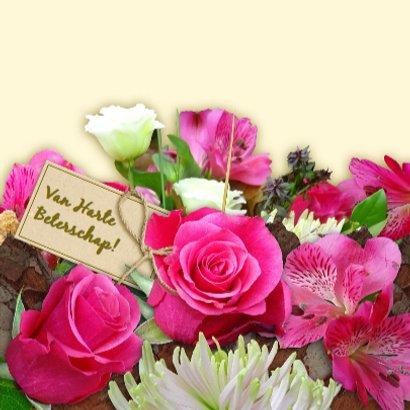 Mooie Beterschapskaart met rozen en Chrysanten 3