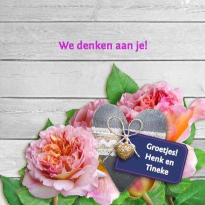 Mooie beterschapskaart met rozen met grijs hart 3