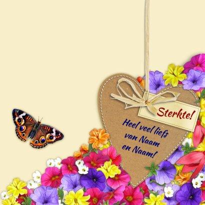 Mooie beterschapskaart vlinder met kleurige bloemen en hart 3