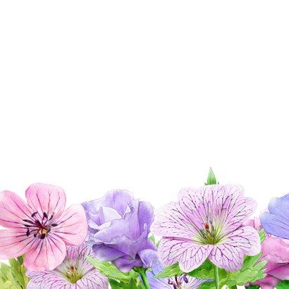 Mooie bloemenkaart blauwe en roze bloemen met Bolderik 2