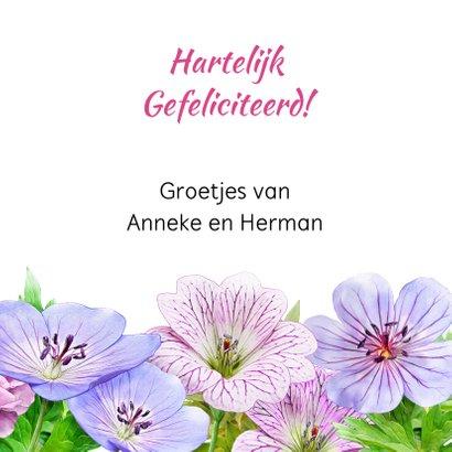 Mooie bloemenkaart blauwe en roze bloemen met Bolderik 3