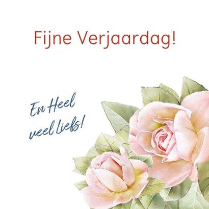 Mooie bloemenkaart met 3 roze rozen 3