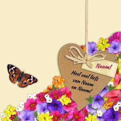 Mooie bloemenkaart met foto en diverse bloemen 3