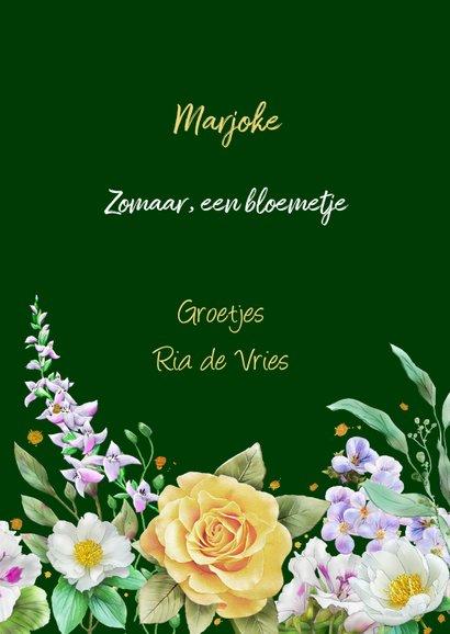 Mooie bloemenkaart met gele rozen en diverse andere bloemen 3