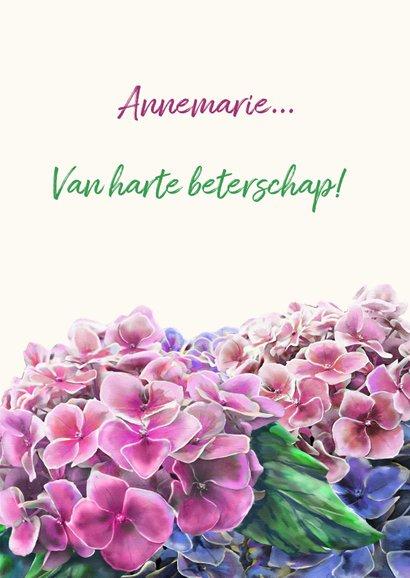 Mooie bloemenkaart met hortensia's in waterverf. 3