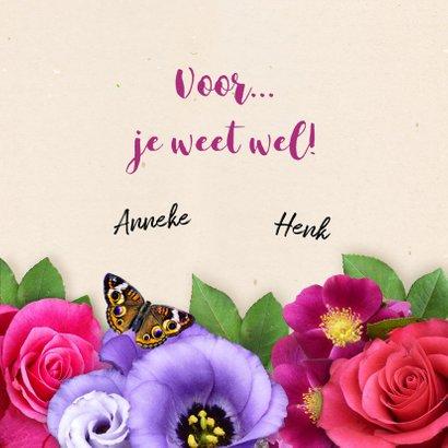 Mooie bloemenkaart met label, strikje en eigen foto 3