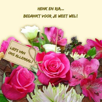 Mooie bloemenkaart met Rozen en Chrysanten en foto 3