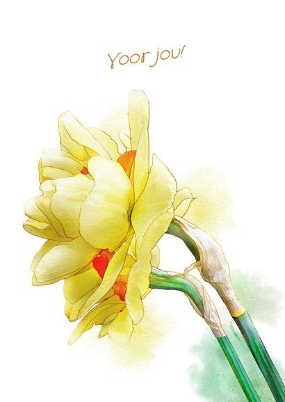 Mooie bloemenkaart Narcissen op waterverf lentegroet 3