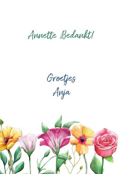 Mooie bloemenkaart om een vriendin te bedanken. 3