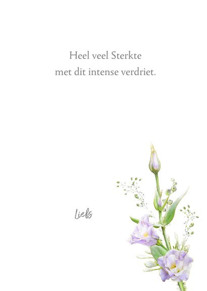 Mooie condoleancekaart met paarse bloemen witte ondergrond 3