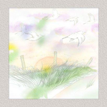 Mooie condoleancekaart met vogels en ondergaande zon 3