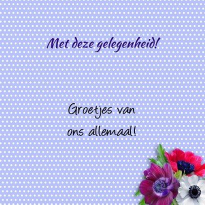 Mooie felicitatiekaart hart met bloemen op stippen 3