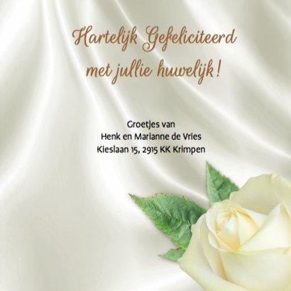 Mooie felicitatiekaart roos en hart op witte zijden-print 3