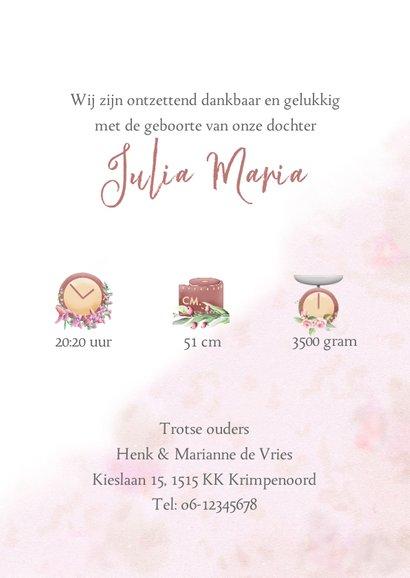 Mooie geboortekaart met zwaan en roosjes 3