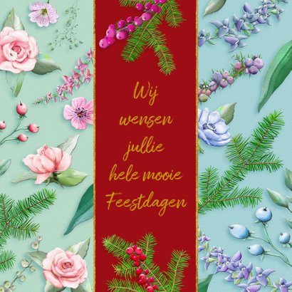 Mooie kerstkaart met bloemen en diverse takjes op kleurbanen 2