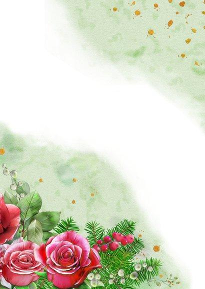 Mooie kerstkaart met rozen en roodborstje op waterverf Achterkant
