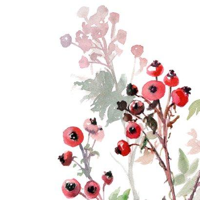 Mooie Kerstkaart met rozenbottel aquarel 2