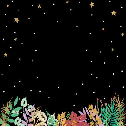 Mooie kerstkaart met sterren, blaadjes en sneeuw op zwart Achterkant