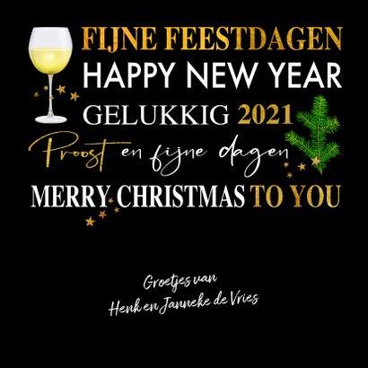 Mooie kerstkaart met teksten. takjes, gebak en wijn 3