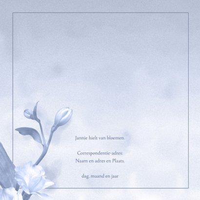 Mooie rouwkaart met bloem op gewassen achtergrond met foto 2