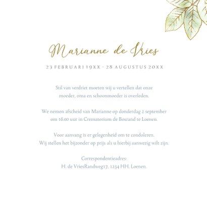 Mooie rouwkaart met een witte roos met goudlijn 3